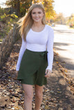 Hunter Green Mini Skirt- Cute Wrap Tie Skirt- $32