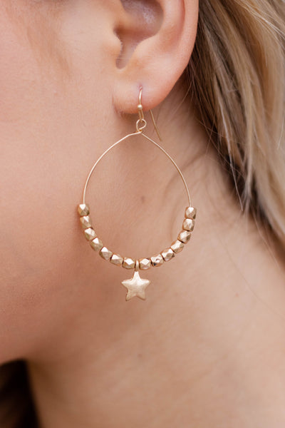 Gold Teardrop Earrings- Trendy Star Jewelry- $14