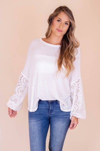 Women's White Boho Blouse- Fall Boho Top- $40- Juliana's Online Boutique