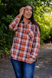 Cute Women's Flannel- Brown And Orange Women's Flannel- $38- Cute Fall Women's Outfits