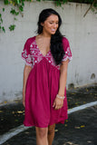 Trendy Burgundy Dress- V-Neck Babydoll Dress- Cute Dresses For Fall- $44