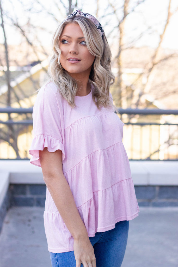 Women's Blush Pink Ruffle Top- Cute Babydoll Top For Women- Cute Mom Outfit 2020- $34