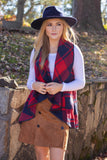Women's Navy And Red Plaid Vest- Open Plaid Vest- Women's Fall Vest- $28