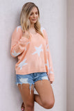 Women's Cute Star Sweater- Coral Star Sweater- $40