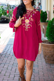 Maroon Shift Dress- Shift Dress With Floral Embroidery- Lace-Up Dress- $38