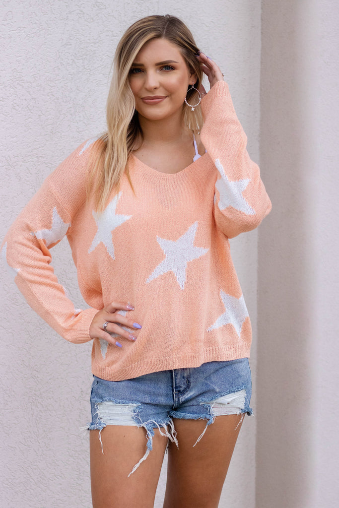 A Star Is Born Sweater-Coral