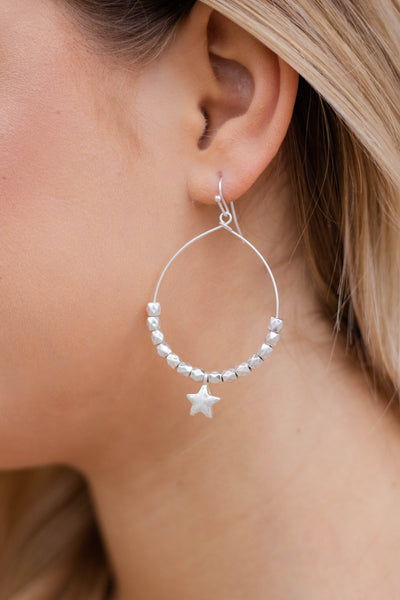 Silver Teardrop Earrings- Trendy Star Jewelry- $14