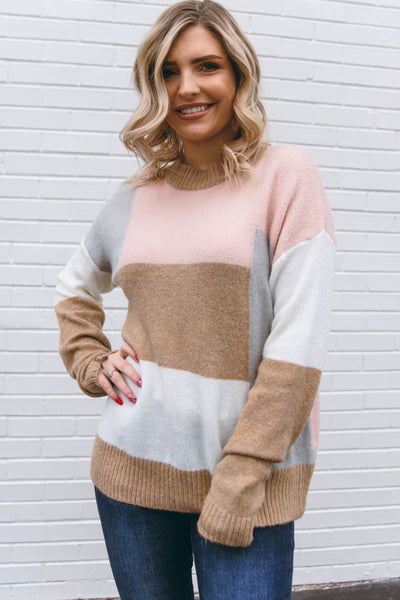 Women's Soft Color Block Sweater- Cute Soft Sweater- $44