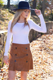 Camel Faux Suede Skirt- Cute Button Skirt- Trendy Faux Suede Skirt- $40