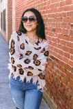 Off The Shoulder Leopard Print Sweater- Tan Leopard Distressed Sweater- Off The Shoulder Sweater- $44