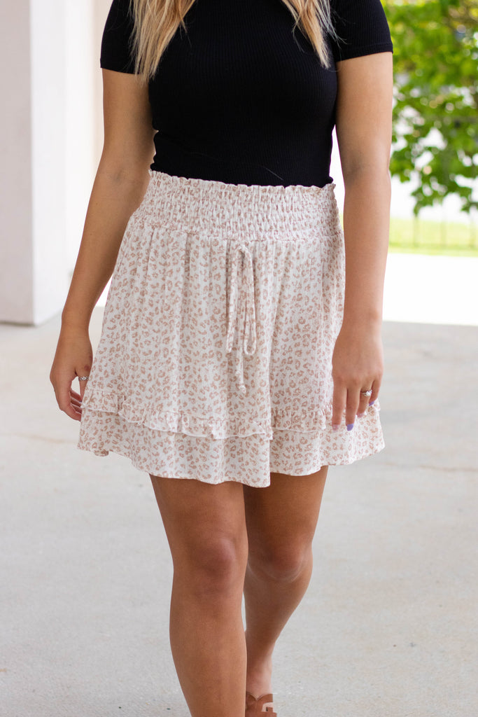 Flirty Leopard Print Skirt- Women's Leopard Print Elastic Skirt- Cute Animal Print Skirt- $38