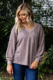 Women's Brown Waffle Knit Top- Cute Waffle Knit Pocket Long Sleeve- $35