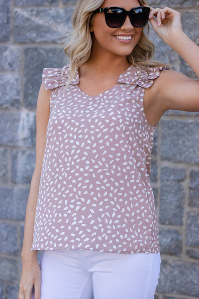 Women's Work Wear Outfit- Taupe Ruffled Tank Top- Animal Print Tank- $28