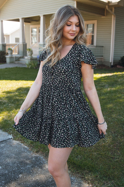 Cute Black Floral Print Dress- Women's Mini Ruffle Dress- $44