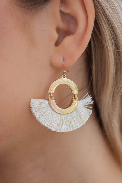 Women's Boho Style Jewelry- Gold Fringe Earrings- $14