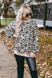 Sassy Ivory Leopard Sweater- Oversized Leopard Print Sweater- $46
