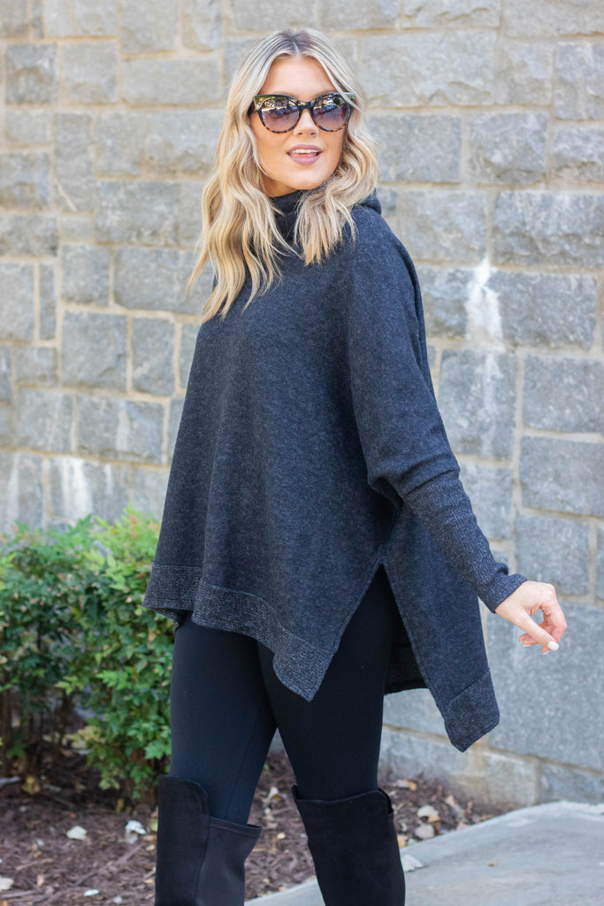 Comfy Charcoal Grey Cowl Neck Sweater- Cute Oversized Sweater- $40