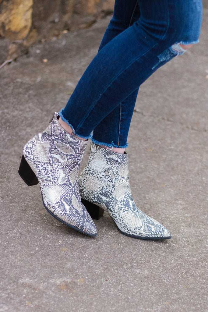 Snakeskin Ankle Booties- Trendy Women's Boots- Faux Leather Ankle Boots