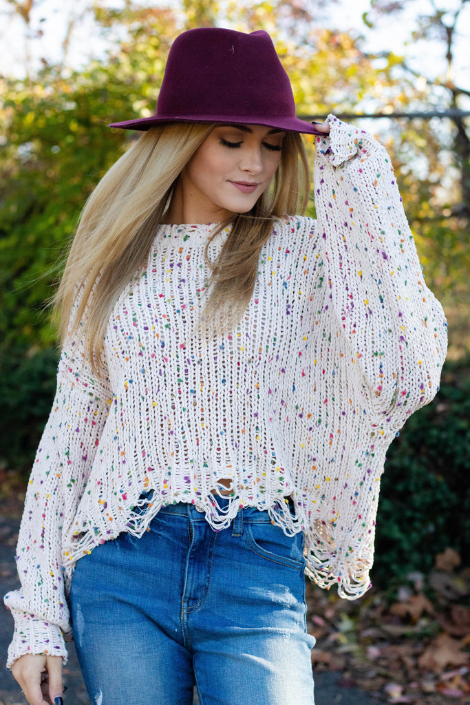 Ivory Confetti Distressed Sweater- Rainbow Confetti Sweater- $44