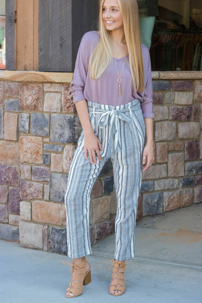 Trendy Striped Pants- Straight Leg Pants- Grey and White Striped Pants- $38- Juliana's Boutique