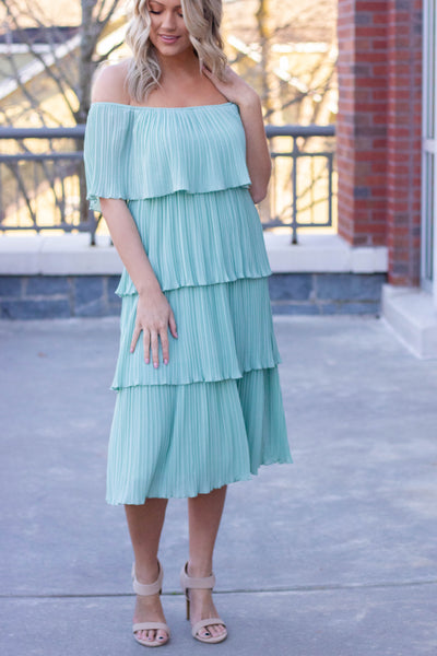 Women's Mint Midi Dress- Off The Shoulder Tiered Midi Dress- $48