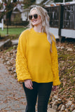 Women's Mustard Yellow Knit Sweater- Bubble Sleeve Sweater- Trendy Fall Sweaters- $44