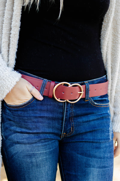 Sassy Wine Vegan Leather Belt- Belt With Gold Double Buckle- $14- Juliana's Boutique