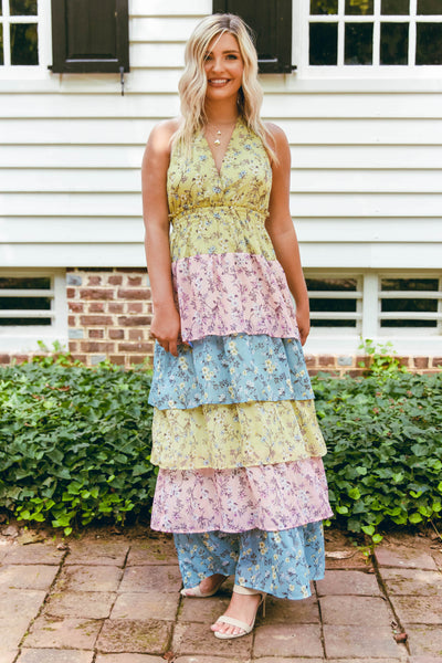 Women's Floral Print Maxi Dress- Women's Tiered Maxi- Colorful Maxi Dress- $40