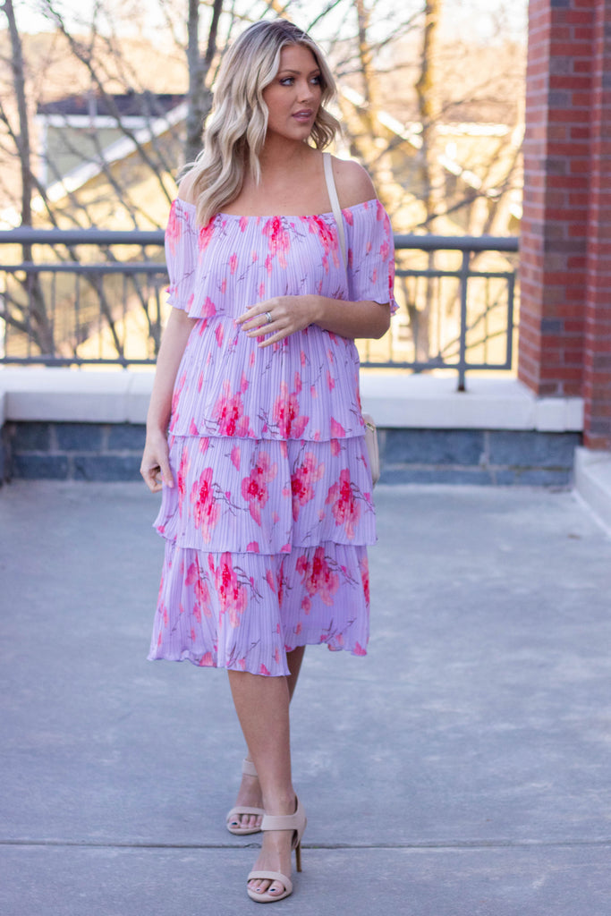 Women's Floral Midi Dress- Off The Shoulder Tiered Midi Dress- $48