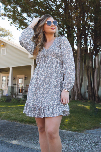 Women's Long Sleeve Floral Dress- Smocked Neckline Dress- $44