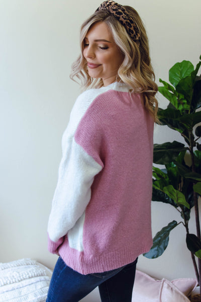 Women's Color Block Sweater- Cute White And Pink Sweater- Contrast Sweater- $42