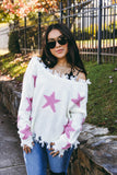Cute Knit Star Sweater- Women's Distressed Star Print Sweater- $46