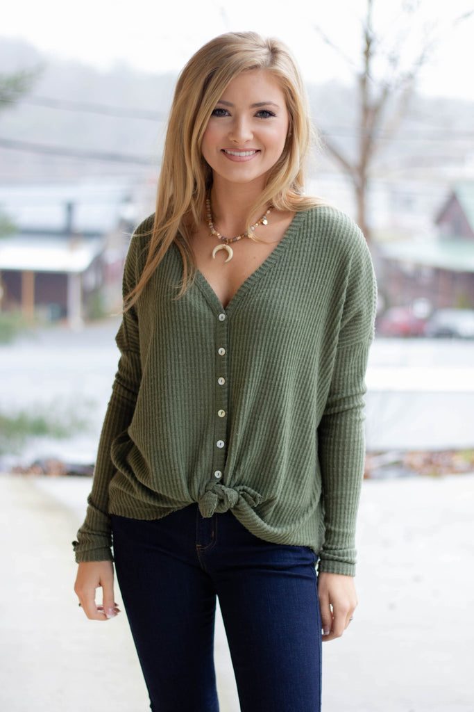 Trendy Olive Long Sleeve Top- Cute Waffle Knit Long Sleeve- Tie Up Top- $38