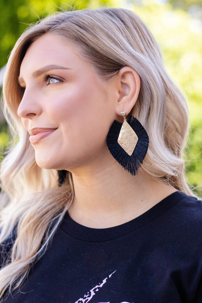 Black Fringed Statement Earrings- Women's Boho Jewelry- $14