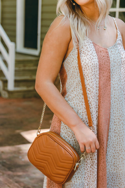 Trendy Cognac Crossbody- Designer Inspired Chevron Crossbody- $22
