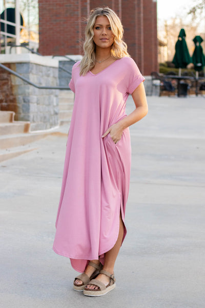 Casual Dusty Rose Maxi Dress- Trendy T-Shirt Maxi Dress- $32- Juliana's Boutique