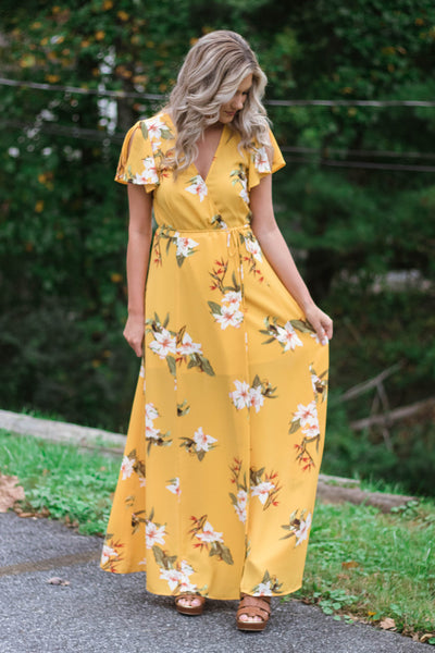 Lovely Mustard Yellow Wrap Dress- Floral Print Maxi Dress- Long Wrap Dress- $48- Juliana's Boutique