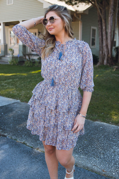 Women's Floral Print Dress- Three Layered Mini Dress With Tassels- $45