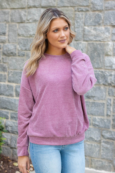 Purple Chenille Pullover- Super Soft Purple Pullover- $34