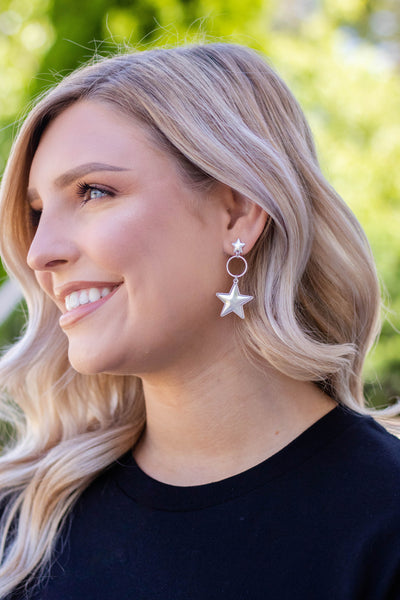 Silver Star Earrings- Trendy Women's Jewelry- $12