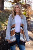 Stylish Grey Multi Striped Cardigan- Cute Oversized Women's Cardigan- $48- Juliana's Boutique