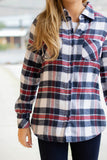Red White And Blue Flannel- Women's Sherpa Lined Flannel Button Down- $35- Juliana's Boutique