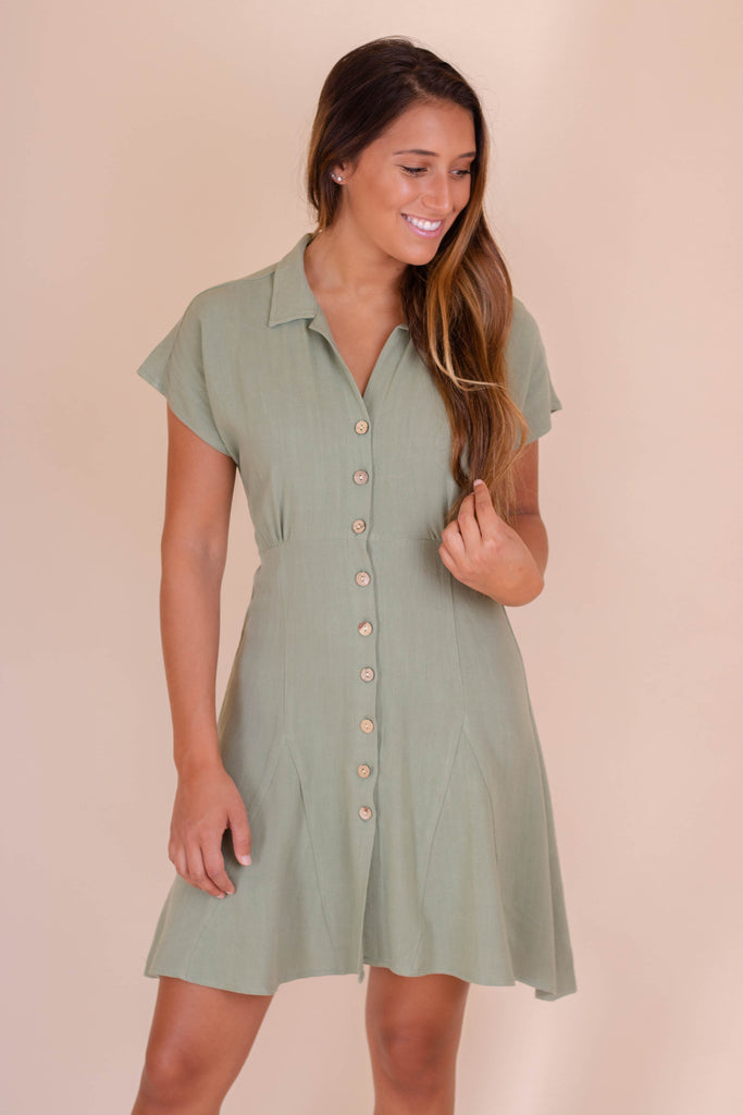 Light Olive Green Button Down Dress- Women's Dress With Collar- Women's Work Wear- $32