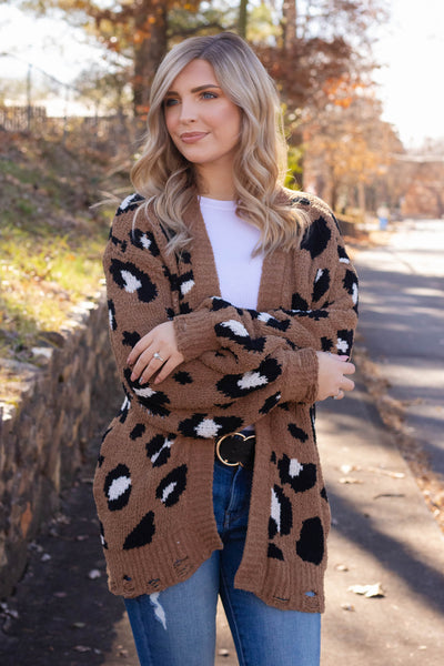 It Takes Two Leopard Cardigan-Camel