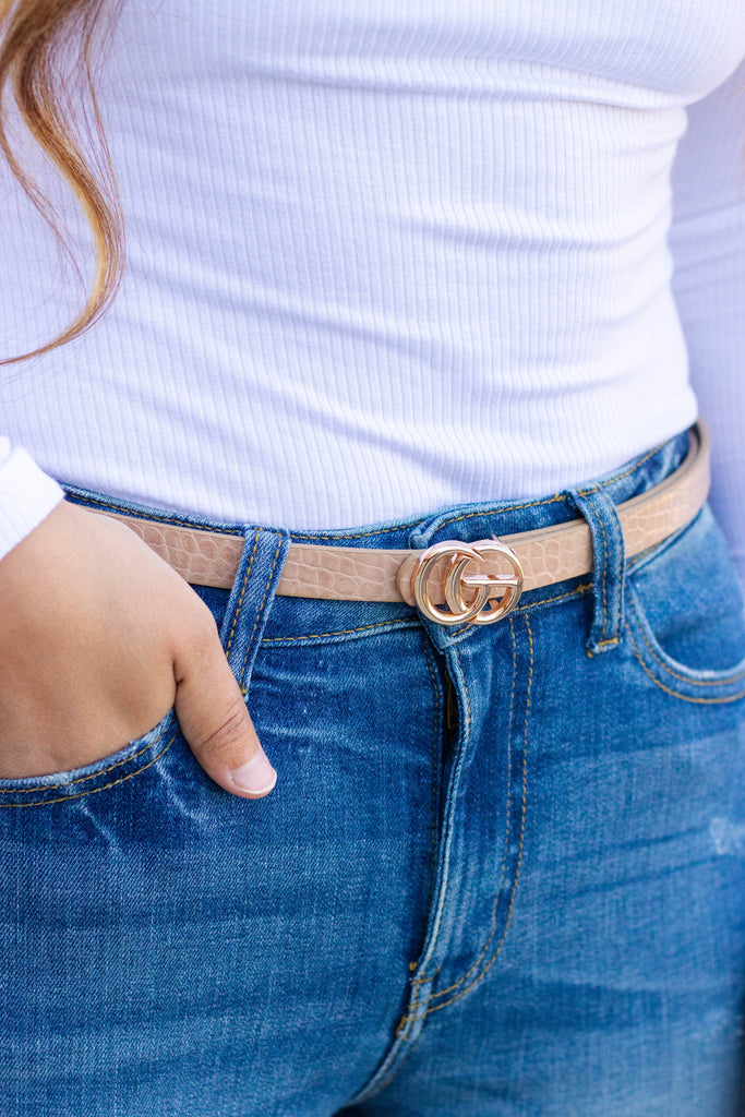 Look The Part Belt-Taupe