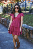 Darling Maroon Dress- Ruffled Wine Dress- $40- Blogger Style Dresses