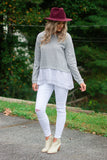 Cute Grey Contrast Top- Striped Sweater Top- $36- Affordable Online Boutique