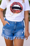 Women's Denim Frayed Shorts- Trendy Frayed Shorts- Cute Women's Denim Shorts- $35