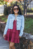 Women's Light Wash Denim Jacket- Chic Denim Jacket- Women's Cute Jackets- $48