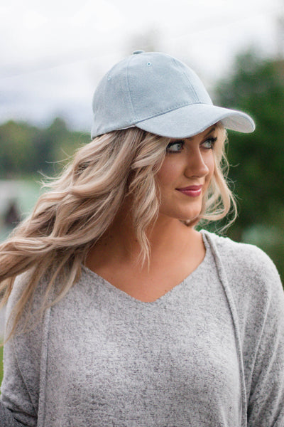 Faux Suede Baseball Cap- Baby Blue Baseball Hat- Cute Women's Baseball Cap- $14- Juliana's Boutique